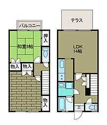 [テラスハウス] 神奈川県相模原市南区東林間6丁目 の賃貸【/】の間取り