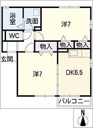 リビングタウンいせ A棟[2階]の間取り