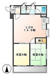 レスカール松原[2階]の間取り