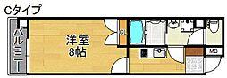 Merry住之江公園 4階1Kの間取り