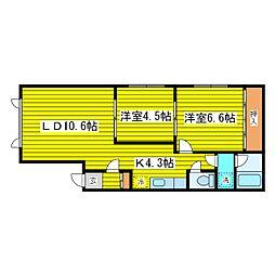 北海道札幌市東区東苗穂三条1丁目の賃貸アパート 2階2LDKの間取り