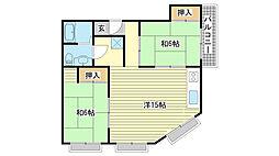 シャトウ姫路[4-B号室]の間取り
