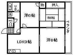 オリーブ鶴原[2階]の間取り