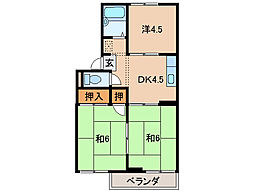 ホワイトハイツ八幡[2階]の間取り