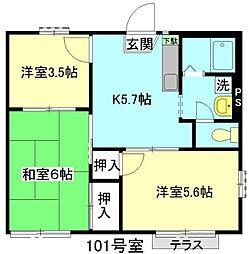 埼玉県上尾市五番町の賃貸アパートの間取り