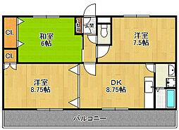 ピンリーブル1[1階]の間取り