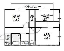大阪府大阪市生野区桃谷2丁目の賃貸マンションの間取り