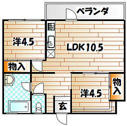 福岡県北九州市小倉北区中井浜の賃貸マンションの間取り