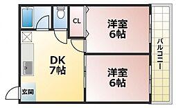 ロイヤル深江[5階]の間取り