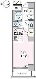 JR常磐線 南千住駅 徒歩5分の賃貸マンション 13階ワンルームの間取り