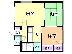 小室マンション 1 2階2DKの間取り