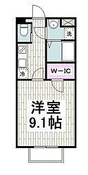 横浜市営地下鉄ブルーライン 港南中央駅 徒歩8分の賃貸アパート 2階1Kの間取り