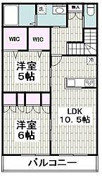 仮称)平戸町メゾンA棟 2階2LDKの間取り