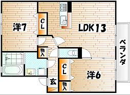 リビングタウン南方 B棟[1階]の間取り