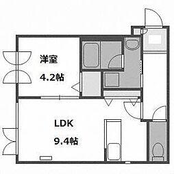 北海道札幌市西区西野一条2の賃貸マンションの間取り