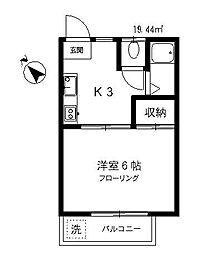 東京都目黒区中町1丁目の賃貸アパートの間取り