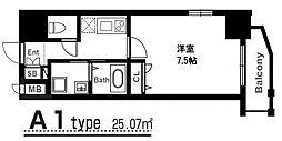 アーバンパーク梅田ウエスト 2階1Kの間取り
