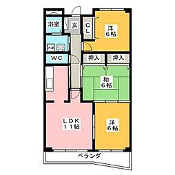 セレーノ松岡 B棟[3階]の間取り