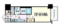 Osaka Metro谷町線 南森町駅 徒歩5分の賃貸マンション 11階1Kの間取り