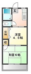 千葉県八千代市八千代台南1丁目の賃貸アパートの間取り