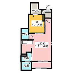 静岡県静岡市清水区下野西の賃貸アパートの間取り