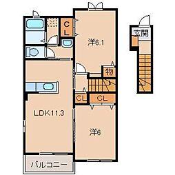 和歌山県和歌山市湊3丁目の賃貸アパートの間取り