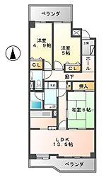 エクセレンス志賀本通[2階]の間取り