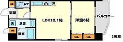 (仮称)プロスパー南吹田 2階1LDKの間取り