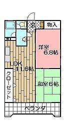 ベルガ三萩野[805号室]の間取り