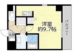 京阪本線 森小路駅 徒歩1分の賃貸マンション 2階ワンルームの間取り