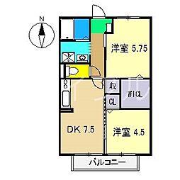 リヴェール北御座 A棟[1階]の間取り