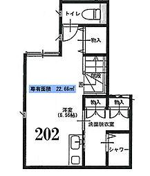東京都文京区弥生1丁目の賃貸アパートの間取り