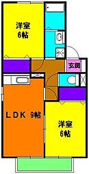 静岡県浜松市東区半田山6の賃貸アパートの間取り
