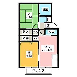 トゥインクルコート文化町4番館[1階]の間取り