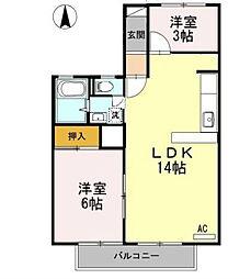 福岡県中間市岩瀬1丁目の賃貸アパートの間取り