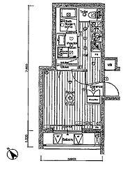 JR埼京線 北赤羽駅 徒歩13分の賃貸マンション 4階1Kの間取り