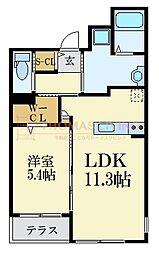 西鉄天神大牟田線 西鉄平尾駅 徒歩8分の賃貸マンション 3階1LDKの間取り