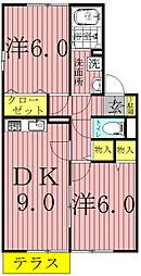 千葉県柏市藤ケ谷の賃貸アパートの間取り