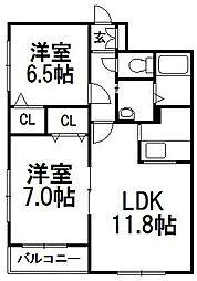北海道札幌市西区八軒七条東5丁目の賃貸マンションの間取り