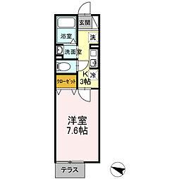 愛知県稲沢市北市場町西玄野の賃貸アパートの間取り