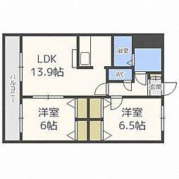 北海道札幌市白石区菊水三条5丁目の賃貸マンションの間取り