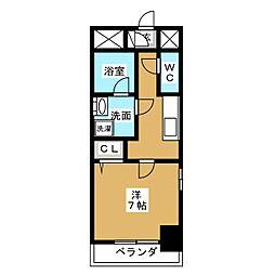 アクアコート大曽根 5階1Kの間取り