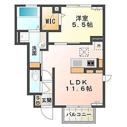 三重県四日市市金場町の賃貸アパートの間取り