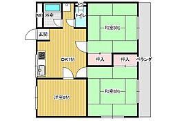 福田ハイツB[4階]の間取り