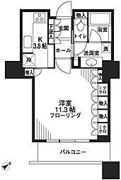 都営大江戸線 汐留駅 徒歩2分の賃貸マンション 9階1Kの間取り