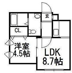 北海道札幌市豊平区平岸二条1の賃貸マンションの間取り