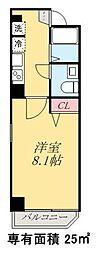 京成押上線 四ツ木駅 徒歩6分の賃貸マンション 4階1Kの間取り
