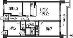 兵庫県姫路市北平野2丁目の賃貸マンションの間取り