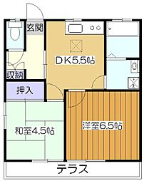 東京都東大和市清水2丁目の賃貸アパートの間取り