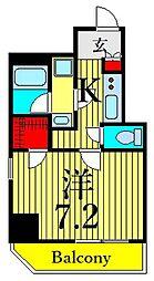 東京メトロ日比谷線 三ノ輪駅 徒歩6分の賃貸マンション 4階1Kの間取り